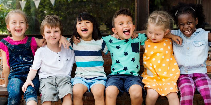 Group of young preschool children