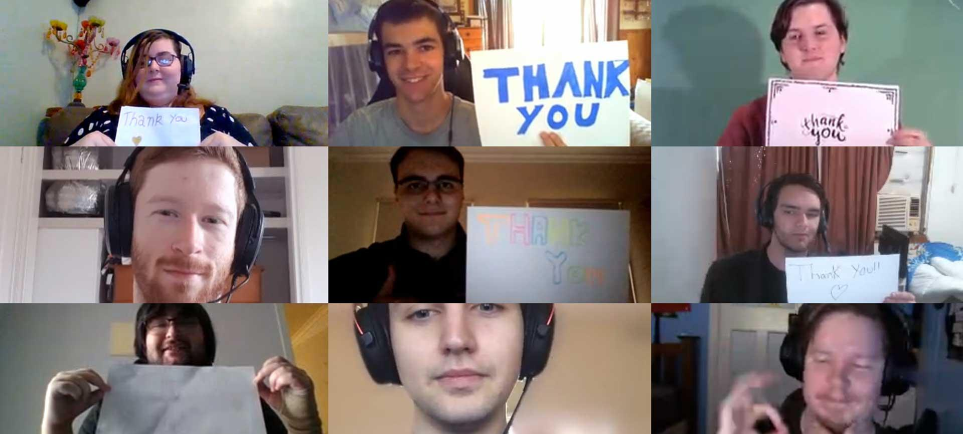 "Shepparton Tech Ready students hold signs saying ""thank you"""