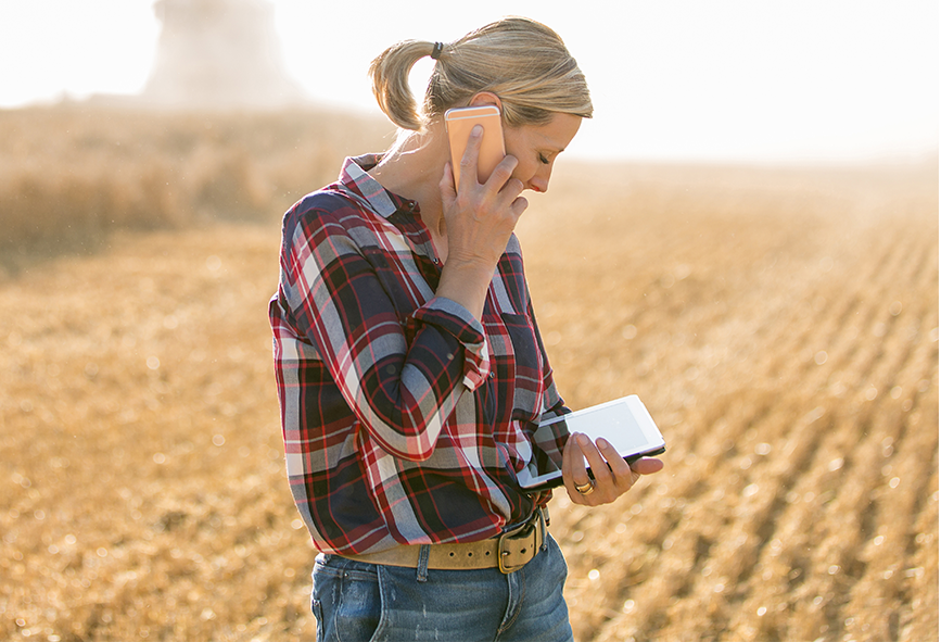 Woman in dry field speaking on smartphone looking at an iPad