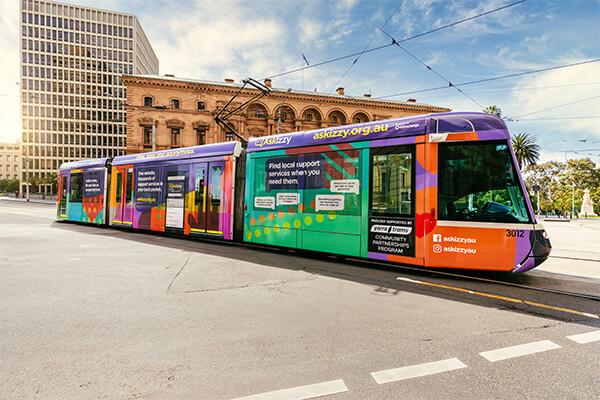 Ask Izzy branded tram in Melbourne