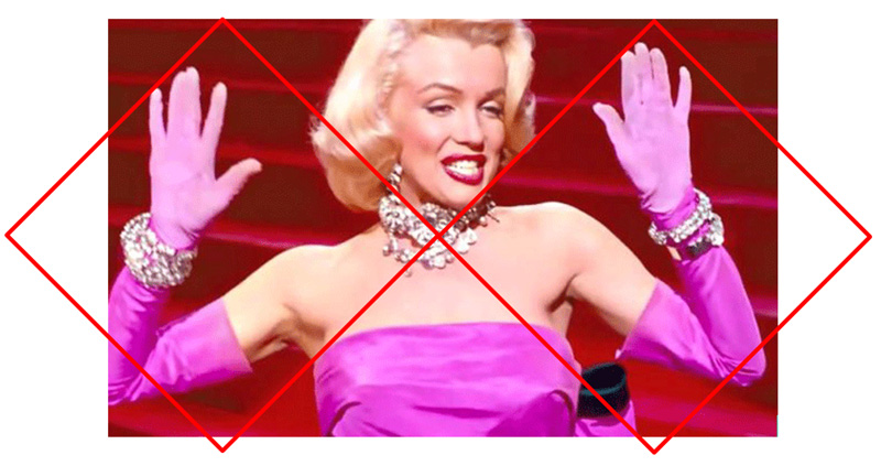 Marilyn Monroe with two diamond shapes overlayed