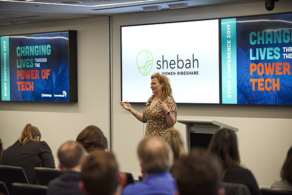 Shebah founder George McEncroe speaking at our staff conference