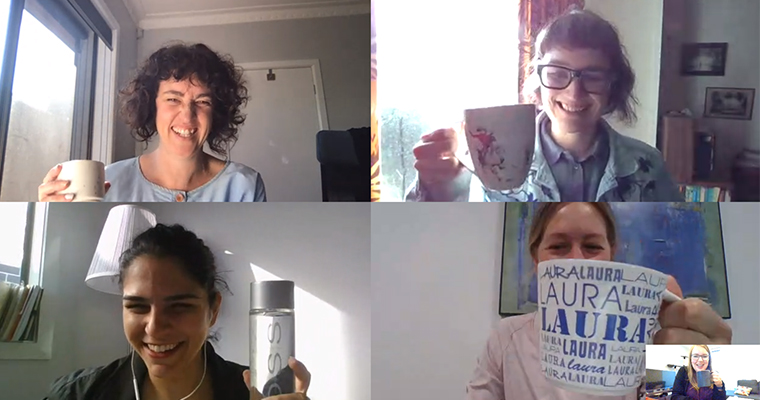 Online coffee catch up meeting